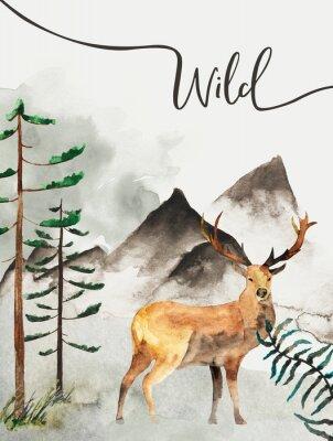 Canvastavlor Gratulationskort med bakgrund av skogen och bergen. Barnens tema. Vykort med rådjur. Vilda djur och växter