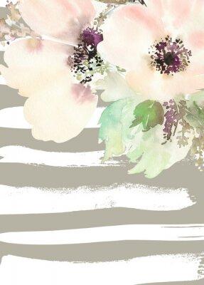 Canvastavlor Gratulationskort med blommor. Pastellfärger. Handgjorda. Akvarellmålning. Bröllop, födelsedag, mors dag. Möhippa.
