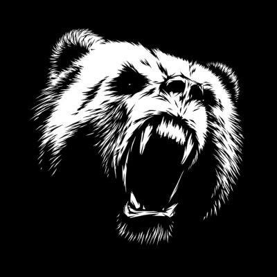 Canvastavlor gravera björnillustration