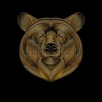 Canvastavlor Gravering av stiliserad guldbjörn på svart bakgrund. Linjär ritning.