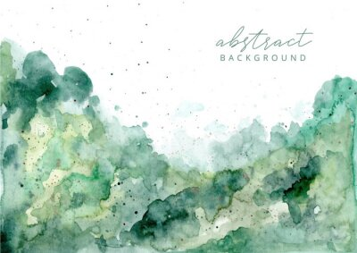 Canvastavlor green abstract watercolor texture background