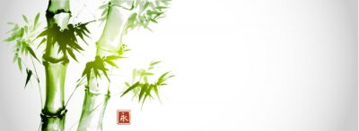 Canvastavlor Green bamboo trees on white background. Traditional Japanese ink wash painting sumi-e.  Hieroglyph- eternity