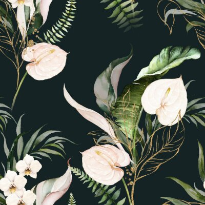 Canvastavlor Green tropical leaves and blush flowers on dark background. Watercolor hand painted seamless pattern. Floral tropic illustration. Jungle foliage.