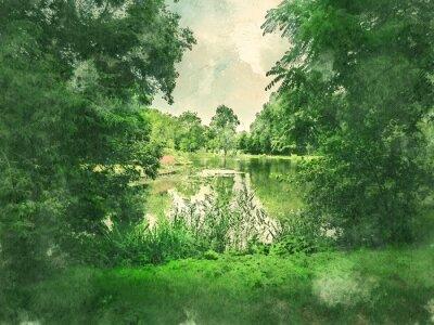 Canvastavlor Grön park och sjö i Amsterdam. Vattenfärg. Oljemålning stil.