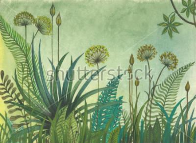 Canvastavlor Grönt gräs växer i djungeln. illustration målade med akvareller
