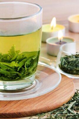 Canvastavlor Grönt te och ljus