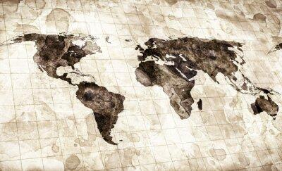 Canvastavlor grunge färgade världskarta