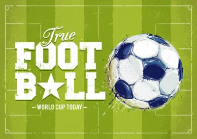 Canvastavlor Grunge fotboll affisch