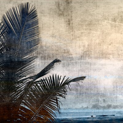 Canvastavlor grunge palm-2