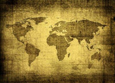 Canvastavlor grunge världskarta