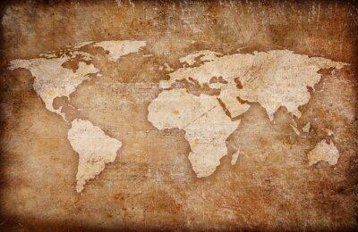 Canvastavlor grunge världskarta bakgrund