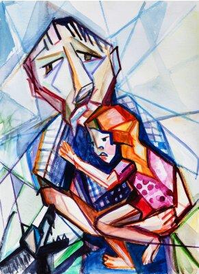 Canvastavlor Gubben och flicka