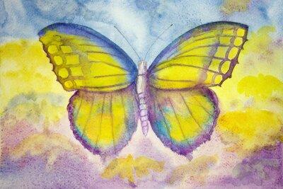 Canvastavlor Gul och blå fjäril. Den badda teknik ger en mjuk fokus effekt på grund av den förändrade ytjämnhet av papperet.
