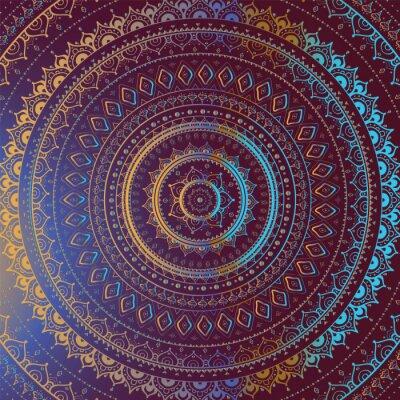 Canvastavlor Guld Mandala. Indiska dekorativa mönster.