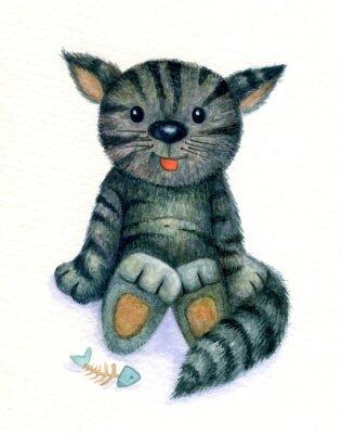 Canvastavlor Gullig kattunge, vattenfärg.