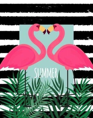 Canvastavlor Gullig Rosa Flamingo Sommarbakgrund Vector Illustration