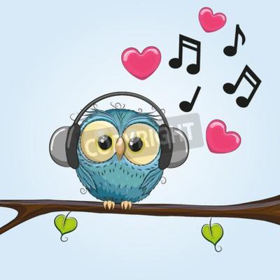 Canvastavlor Gullig tecknad Owl med hörlurar
