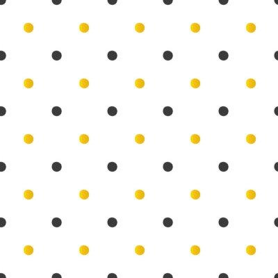 Canvastavlor Gyllene och svarta prickar seamless bakgrund.
