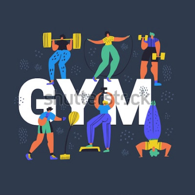 Canvastavlor Gym, hand dras ordbegrepp för fitnessklubbhand. Små människor i tecknad filmtecken för sportkläder. Friidrott, utbildning övar platt färgvektorillustration. Träningsaffisch, bannerdesign