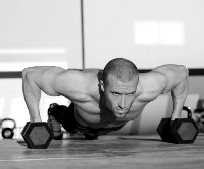 Canvastavlor Gym man push-up styrka pushup med hantel