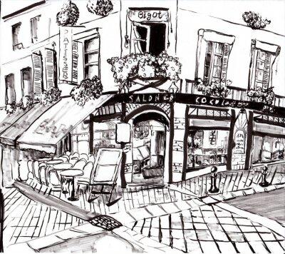 Canvastavlor hand dra paris coffee shop