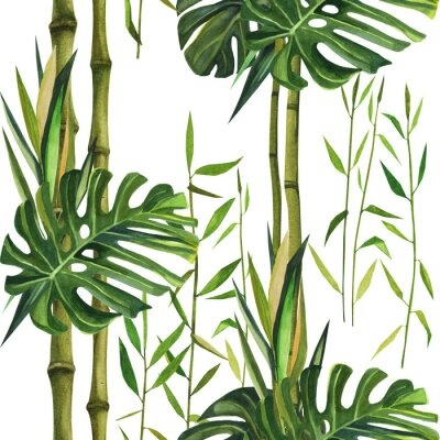 Canvastavlor Hand drawn watercolor pattern with bamboo leaves. Seamless patterns
