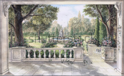 Canvastavlor Hand drawn watercolor sketch with landscape and fountain. The view from the terrace on garden with trees, flowers and fountain. View from the balcony on the garden.