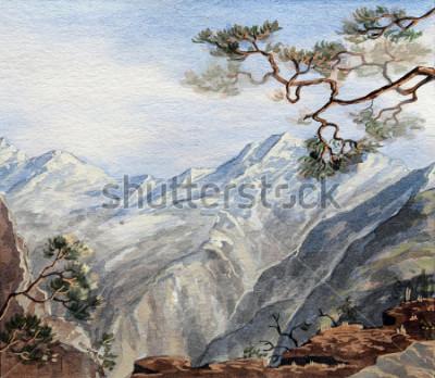 Canvastavlor hand rit skiss med berg
