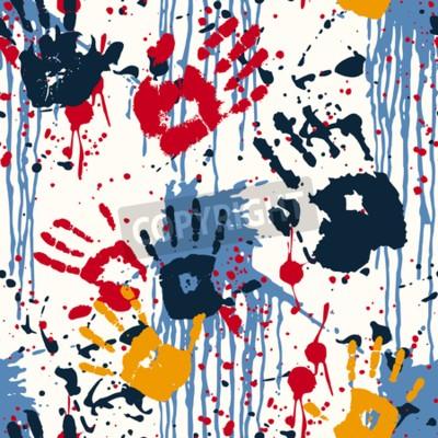 Canvastavlor Hand tryck och blotting, abstrakt vektor seamless