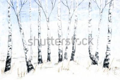 Canvastavlor Handdragen vattenfärg vinterlandskap. Forest illustration, vinterträd. Björk