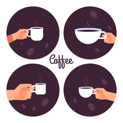 Canvastavlor Händer som håller koppar kaffevektorsymboler som isoleras på vit bakgrundillustration