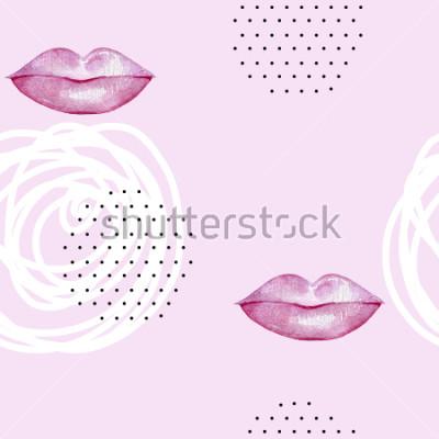 Canvastavlor Handgjorda akvarellrosa läppar. Abstrakt högtidligt monster.