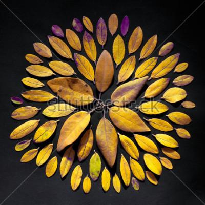 Canvastavlor Handgjorda bladmandala platt låg på svart bakgrund. Bohemian mandala arrangemang av blad.