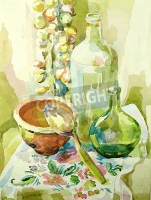 Canvastavlor handgjorda vattenfärg kök stilleben med kruka, glasflaska, sked och båge