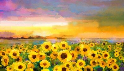 Canvastavlor Handmål sommar blommig Impressioniststilen