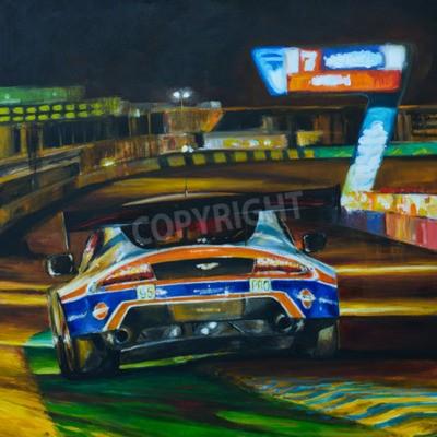 Canvastavlor Handmålade bild av racerbil kör på natten med hög hastighet i kretsen. Illustrationen som skapas med akryl
