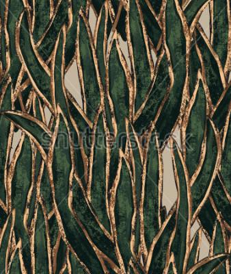 Canvastavlor handmålade tång tapeter. exotiskt gräs löser monster. tropisk illustration för textil och ytdesign
