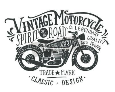 Canvastavlor Handritad grunge vintageillustration med handen bokstäver och retro cykel. Denna illustration kan användas som ett tryck på t-tröjor och väskor, stationära eller som en affisch.