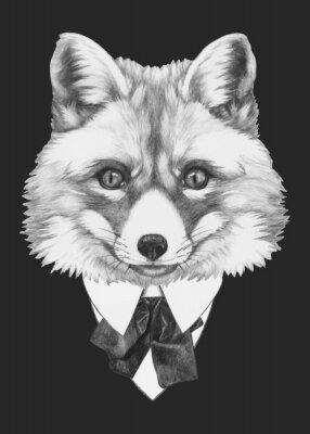 Canvastavlor Handritad porträtt av Fox med glasögon. Vector isolerade element.