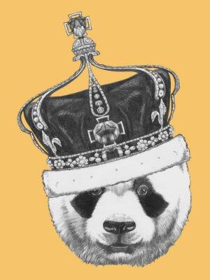 Canvastavlor Handritad porträtt av Panda med krona. Vektor