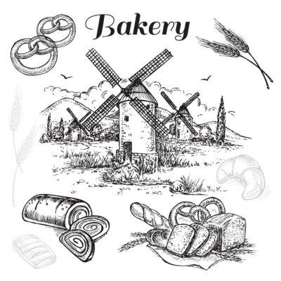 Canvastavlor handritad uppsättning bageri