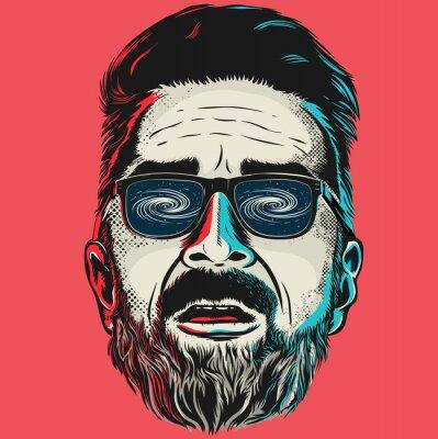 Canvastavlor Handritad vektor ansiktet av en hipster man med glasögon.