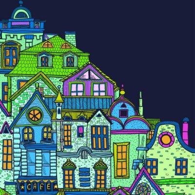 Canvastavlor Handritade bakgrund med natt gamla stan