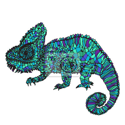Canvastavlor Handritade kameleont illustration.