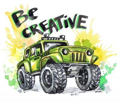 Canvastavlor Handritat kort med stor bil och bokstäver. Ord vara kreativa. Akvarell mångfärgad illustration. Aktiv galen sport. Transport.
