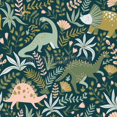 Canvastavlor Handritat sömlöst mönster med dinosaurier och tropiska blad och blommor. Perfekt för barn tyg, textil, plantkola tapeter. Gullig dino design. Vektorillustration.