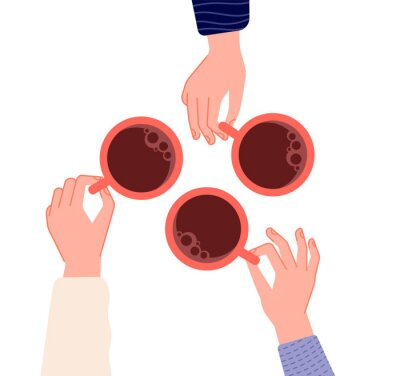 Canvastavlor Hands holding cups. Coffee, tea in woman hand. Isolated mugs with hot drinks in cafe. Friends meeting or morning time vector illustration. Hot cup of coffee drink, hand with mug