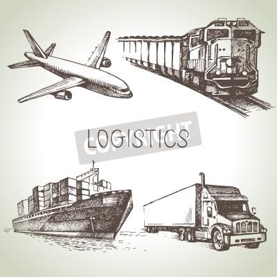 Canvastavlor Handtecknade logistik- och leveransschetsikoner. Vektor illustration