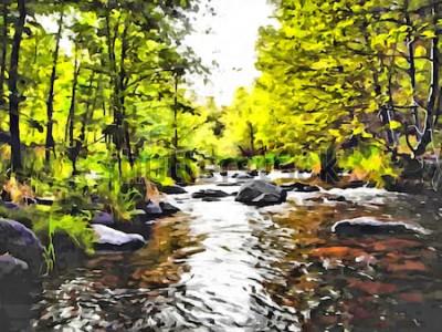 Canvastavlor Handteckning akvarell konst på duk. Konstnärlig storstil. Original modern målning. Torkborstbakgrund i akryl. Underbart sommarlandskap. Europeisk vild natur. Restid. Liten skogflod.