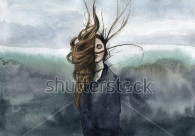 Canvastavlor hår vinkar i bisen, tjejen, humörlig akvarell